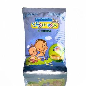 Каша «Ням-Ням» 4 злаки швидкого приготування дитяче харчування для дітей віком від 6-ти місяців, 150 г